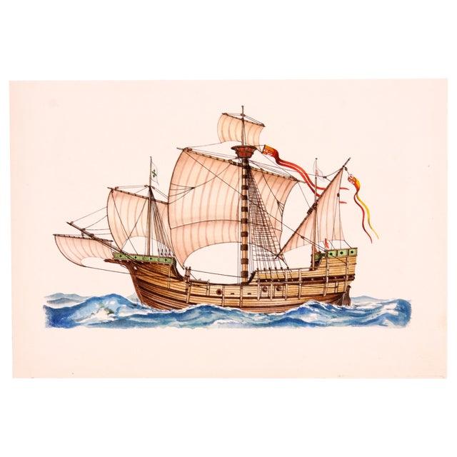 Santa Maria Ship Watercolor For Sale