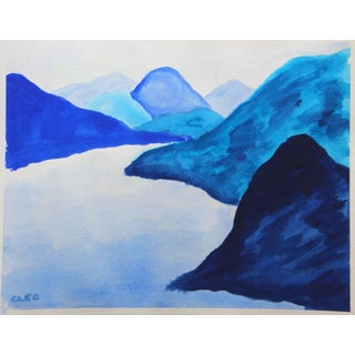 Minimalist Ble Mountain Landscape by Cleo Plowden For Sale