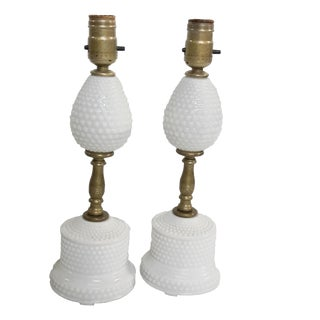 Vintage Pair of Hobnail Milk Glass Cottage Lamps For Sale