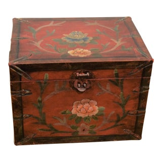 1960s Vintage Chinese Hand-Painted Wooden Storage Box For Sale