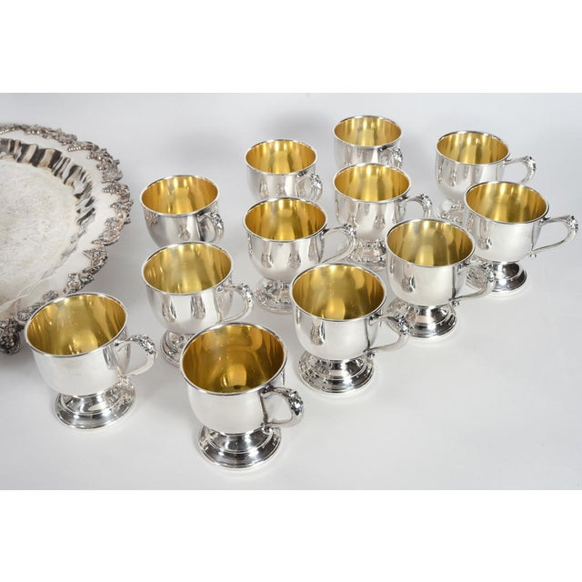 Late 20th Century Vintage English Georgian Style Silver Plated & Copper Punch Bowl Set of 15 For Sale - Image 5 of 12