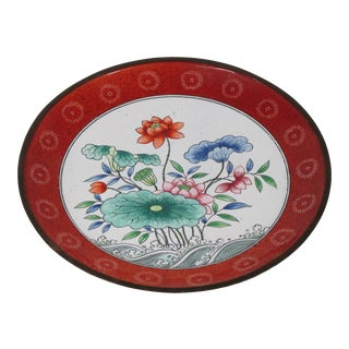 1940s Chinese Enamel Floral Plate For Sale