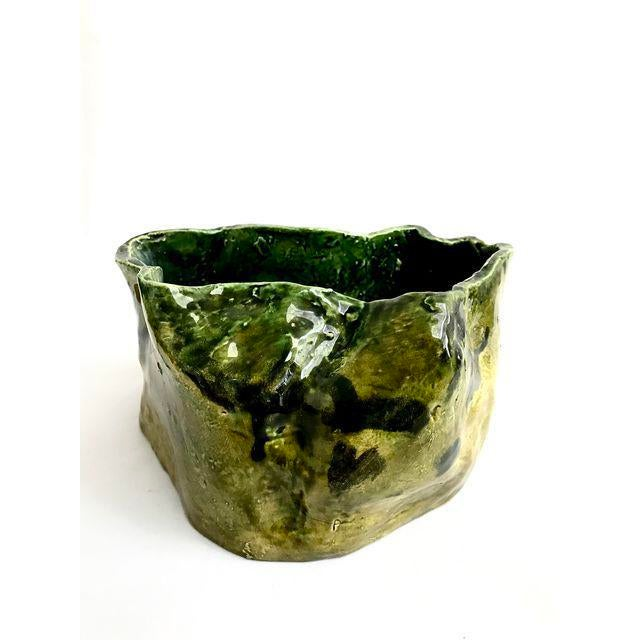 Olive Green Abstract Ceramic Pots - Image 5 of 7