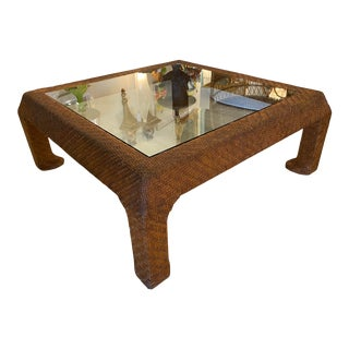 Vintage Scroll Ming Legs Braided Leather Wicker Glass Top Coffee Cocktail Table For Sale