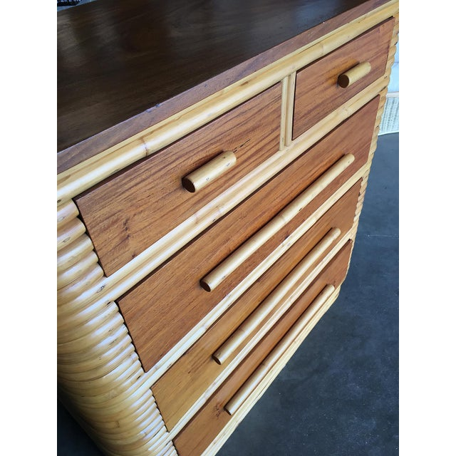 Yellow Restored Stacked Rattan Highboy Dresser With Mahogany Top For Sale - Image 8 of 10