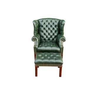 Tufted Green Leather Wingback Chair & Ottoman Preview