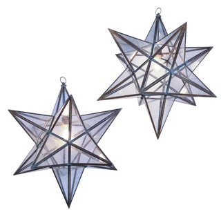 Two Voluminous Glass Star Pendants For Sale