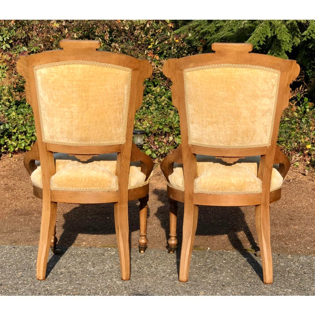Wood Late 19th Century Victorian Eastlake Carved Wood Original Velvet Chairs - a Pair For Sale - Image 7 of 13