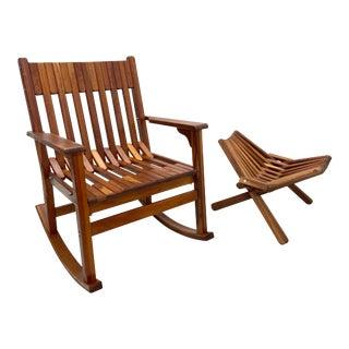 Danish Teak Rocking Chair and Ottoman Set For Sale