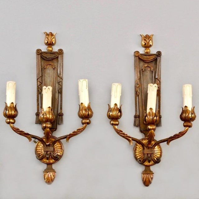 French Neoclassical Three-Light Gilt Metal Sconces - A Pair - Image 2 of 4
