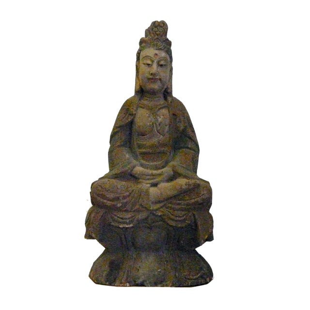 Chinese Rustic Distressed Wood Kwan Yin Statue For Sale