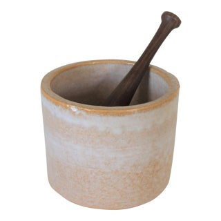 Pottery Mortar & Wooden Pestle