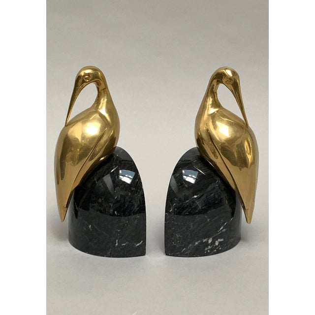 1970s Art Deco Brass and Marble Egret or Crane Bookends – a Pair For Sale - Image 5 of 13