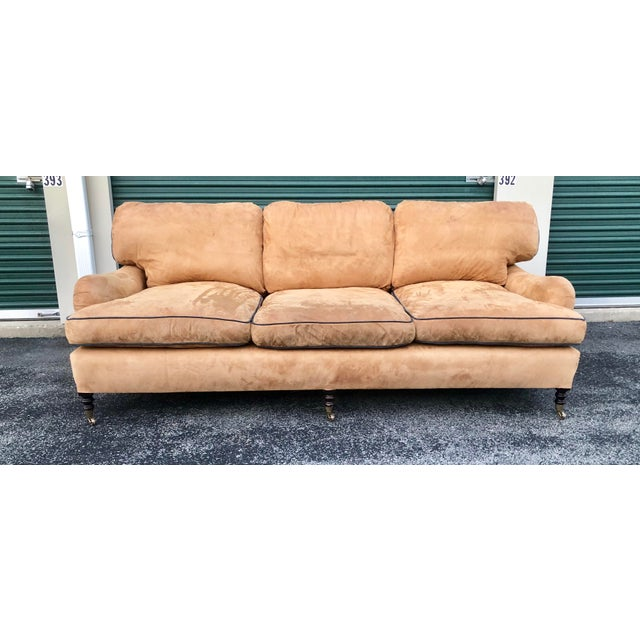 Tan George Smith Loose Back Standard Arm Sofa For Sale - Image 8 of 8