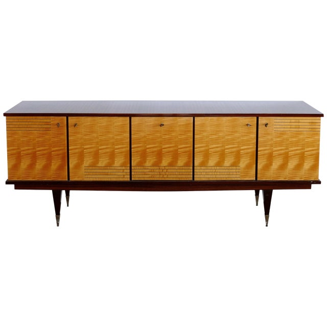 Ameublement Nf Mahogany and Satinwood Credenza With Brass Hardware From France For Sale