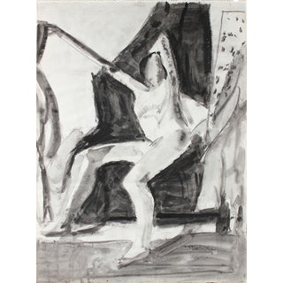 1970's Bay Area Figurative Drawing in Ink and Charcoal For Sale