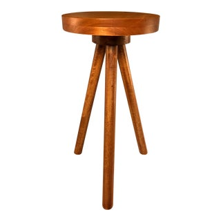 Modern Wood Round Side Table Pedestal Plant Stand For Sale