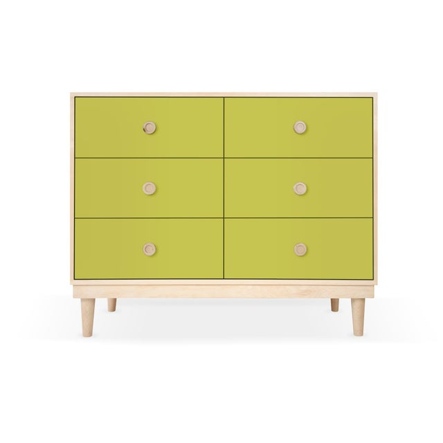 Nico & Yeye Lukka Modern Kids 6-Drawer Dresser in Maple With Green Finish For Sale - Image 4 of 4