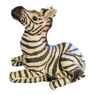 1980s Black and White Sitting Zebra Palm Beach Regency Statue For Sale
