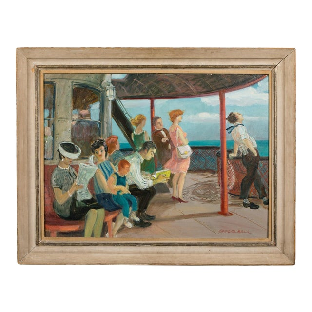 """Mid 20th Century """"Riders on the Staten Island Ferry"""" Oil Painting By Cecil Crosley Bell For Sale"""