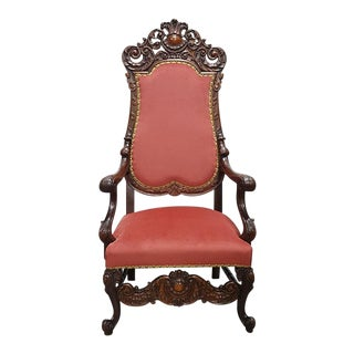 1920s Antique Walnut Italian Carved Arm Chair For Sale