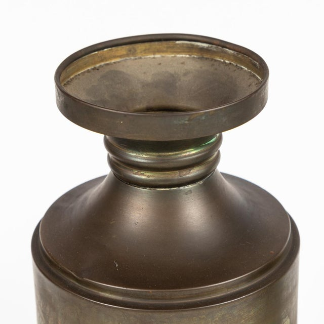 Mid-Century Modern Brass Urn or Vase With Dark Bronze-Like Patina on Weighted Base For Sale - Image 3 of 6