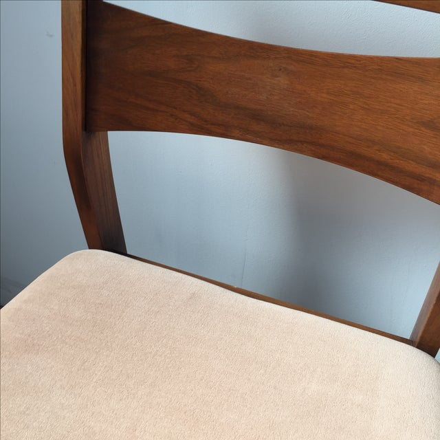Mid-Century Velvet & Walnut Dining Chairs - Set of 4 - Image 6 of 10