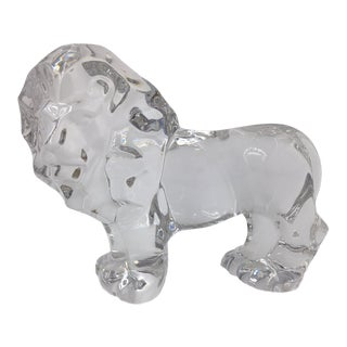 Val St Lambert Crystal Lion For Sale