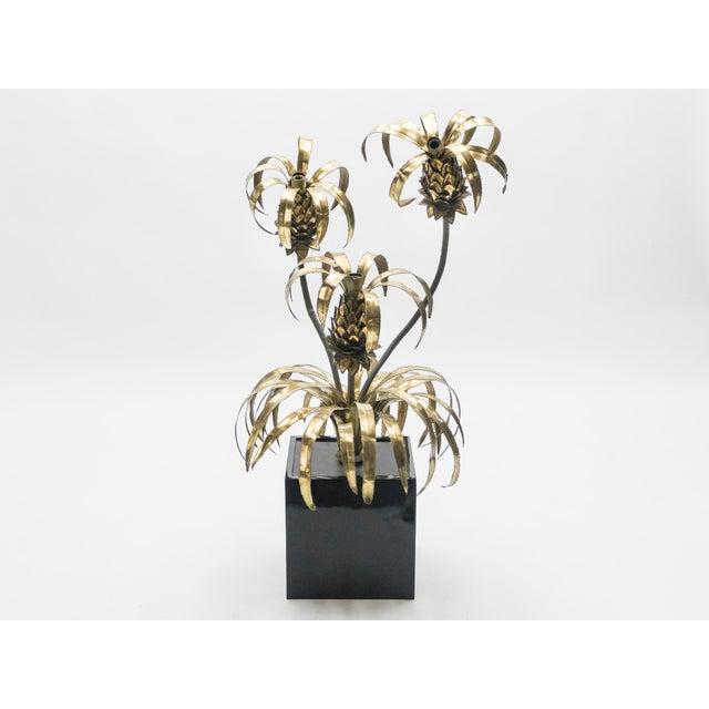 Rare Pair of Hollywood Regency Brass Maison Jansen Pineapple Floor Lamps, 1970s For Sale - Image 9 of 13