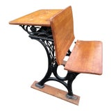 Image of Antique Wood & Cast Iron Childs School Desk With Folding Seat For Sale