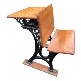 Antique Wood & Cast Iron Childs School Desk With Folding Seat For Sale
