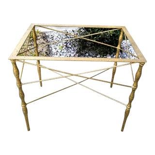 Hollywood Regency Gold Gilt X Slim Side Table For Sale