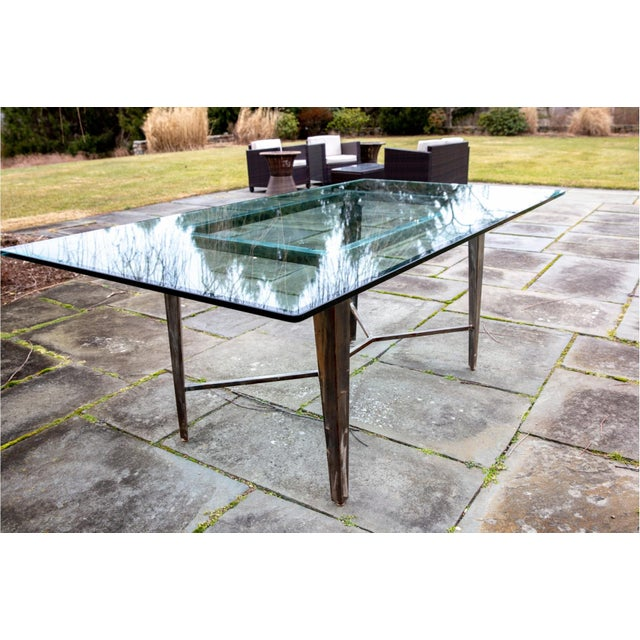 Vintage Glass Top and Steel Rectangular Dining Table For Sale - Image 12 of 12