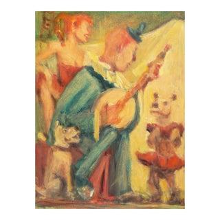 'Banjo Dogs', Mid-Century American School, Impressionist Circus Scene For Sale