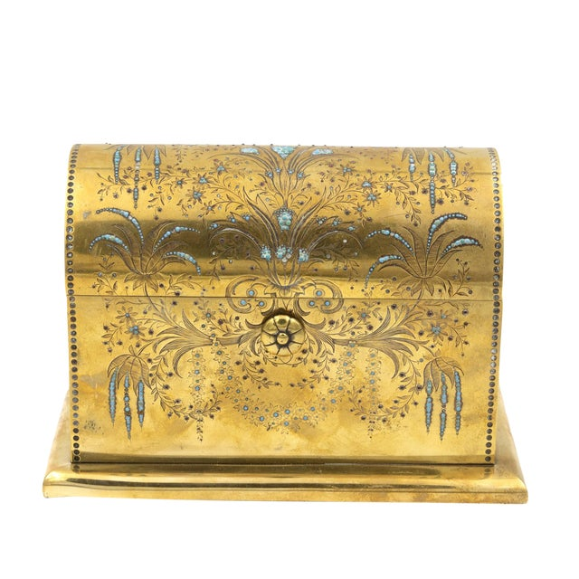 Rare Solid Brass Stationery Box Inlaid With Turquoise and Garnets, France, Circa 1860. For Sale