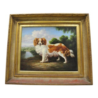 Spaniel Dog in Landscape Oil Painting With Gold Frame Signed Shipley For Sale