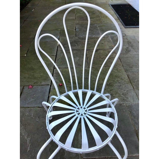 1930s 1930s Vintage Francois Carre White Sunburst Iron Garden Chair For Sale - Image 5 of 12