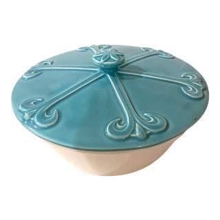 Vintage Midcentury Modern Turquoise and White Pottery Lidded Serving Dish For Sale