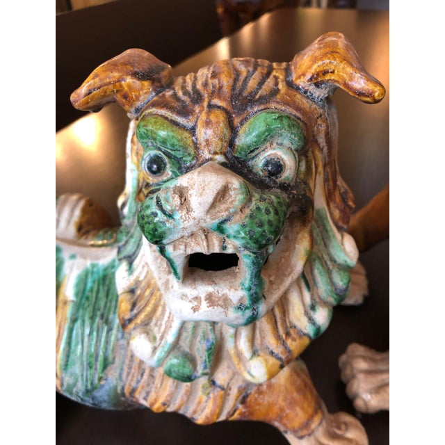 Asian 1950s Chinese Eye Catching Vintage Foo Dog Sculptures - a Pair For Sale - Image 3 of 13