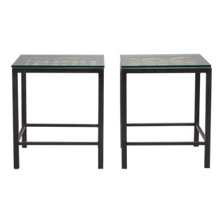 Pair Custom End Tables Made with French Metal Grill