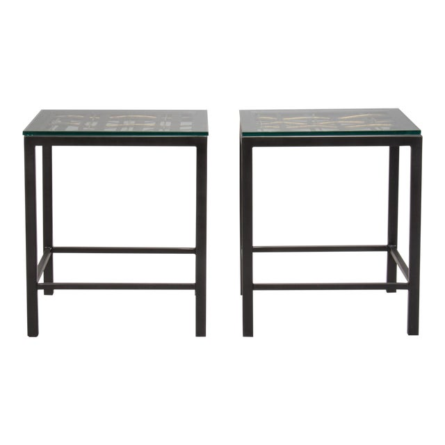 Pair Custom End Tables Made with French Metal Grill For Sale