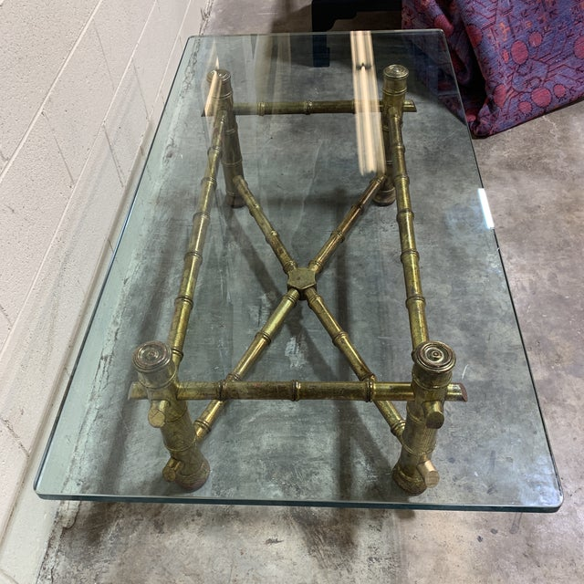 1970s Italian Gilt Faux Bamboo Glass Top Coffee Table For Sale - Image 10 of 13