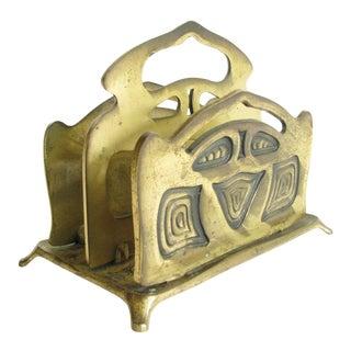 Antique Art Nouveau Bradley & Hubbard Brass Letter Holder For Sale