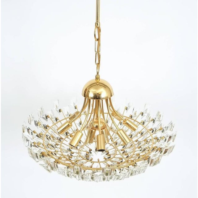 Italian Large Glass and Brass Chandelier by Stilkrone Italy , circa 1970 For Sale - Image 3 of 9