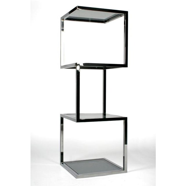 Asymmetrical Stacked Cubes Etagere after Milo Baughman - Set of 3 For Sale In New York - Image 6 of 7