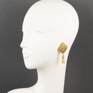 Chantal Thomass Paris Dangling Clip Earrings Gilt Metal Matelassé & Tassel Preview