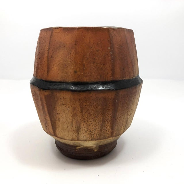 Orange Japanese Style Faceted Yunomi Studio Pottery Cups, Marked - a Pair For Sale - Image 8 of 13