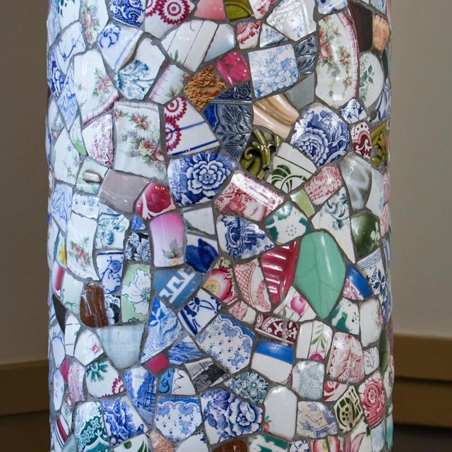 Tall Charming Mosaic Lamp For Sale - Image 4 of 6