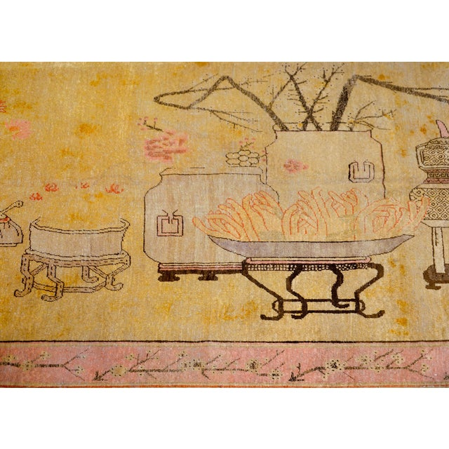 Light Yellow Early 20th Century Pictorial Khotan Rug For Sale - Image 8 of 11