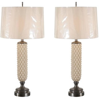 Pair of Cream and Pewter Bubble Lamps by Helena Tynell for Flygsfors For Sale
